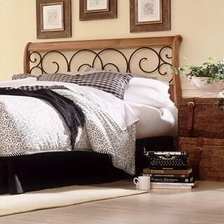 Dunhill Wood Headboard with Sleigh Style Design and Autumn Brown Metal Swirling Scrolls