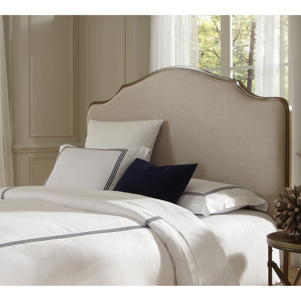 Calvados Metal Headboard With Sand Colored Upholstery