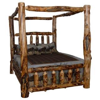Rustic Aspen Log Canopy Bed