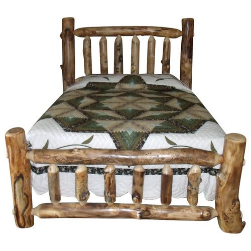 Rustic Aspen Log Mission Style Complete Bed (Queen), Tan