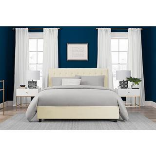 DHP Emily Vanilla Faux Leather Upholstered Queen Bed