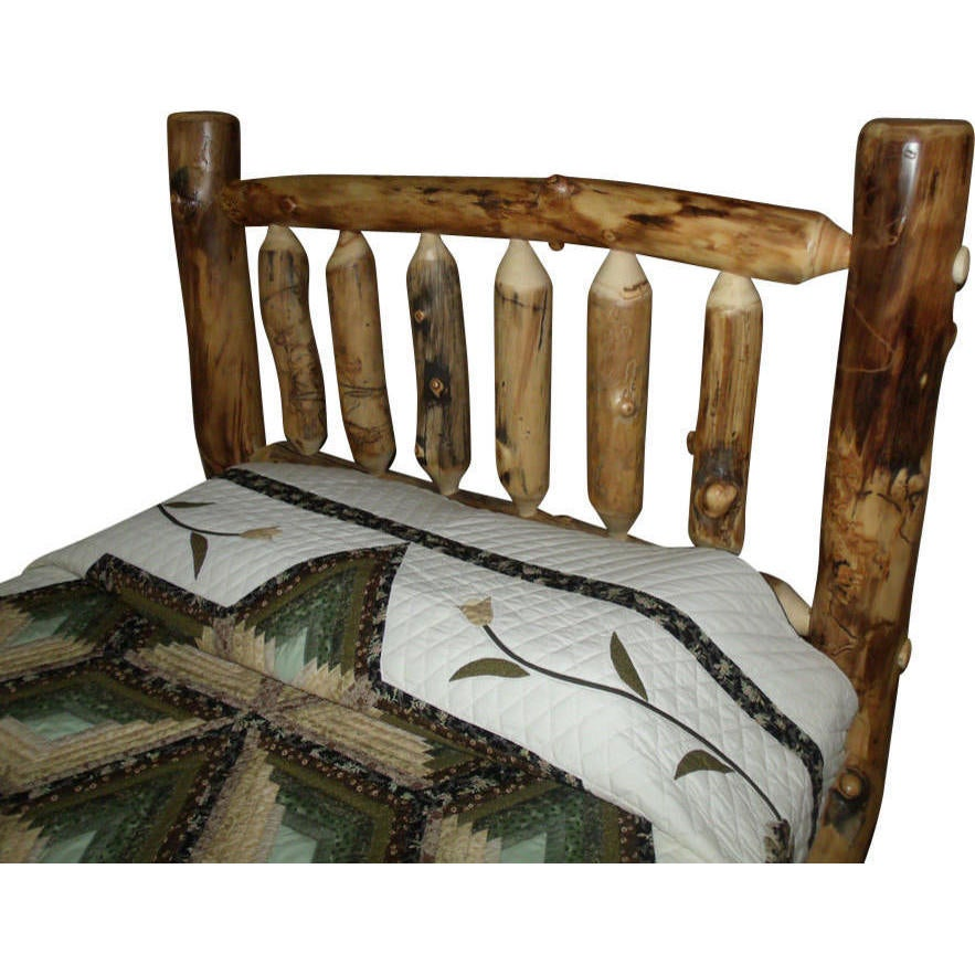 Rustic Aspen Log Mission Style Headboard Only (Queen), Tan