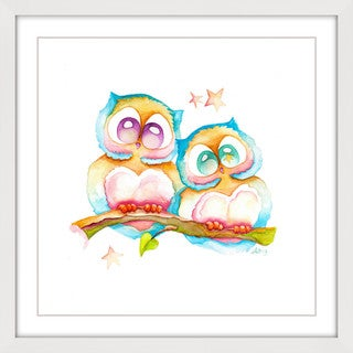 Marmont Hill - 'Two Owls' by Brilliant Critter Framed Painting Print