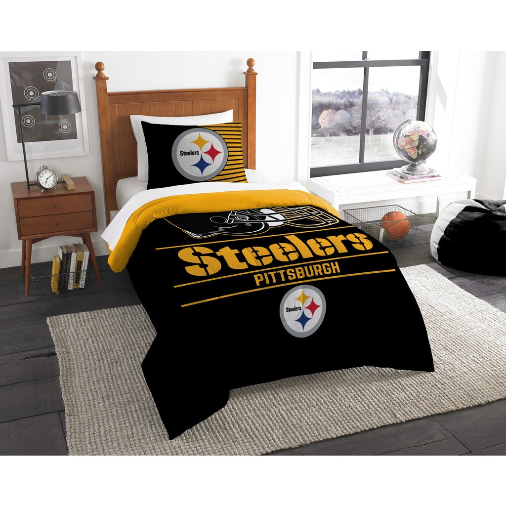 Norwesco mpany NFL Pittsburgh Steelers Draft Twin 2-piece Comforter Set (Steelers), Multi (Polyester, Sports & Collegiate)