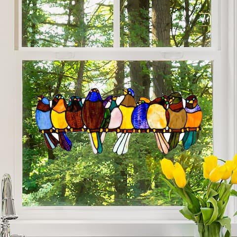 """River of Goods Birds on a Wire 9.25-inch Stained Glass Window Panel - 24.25""""L x 0.25""""W x 9.5""""H"""