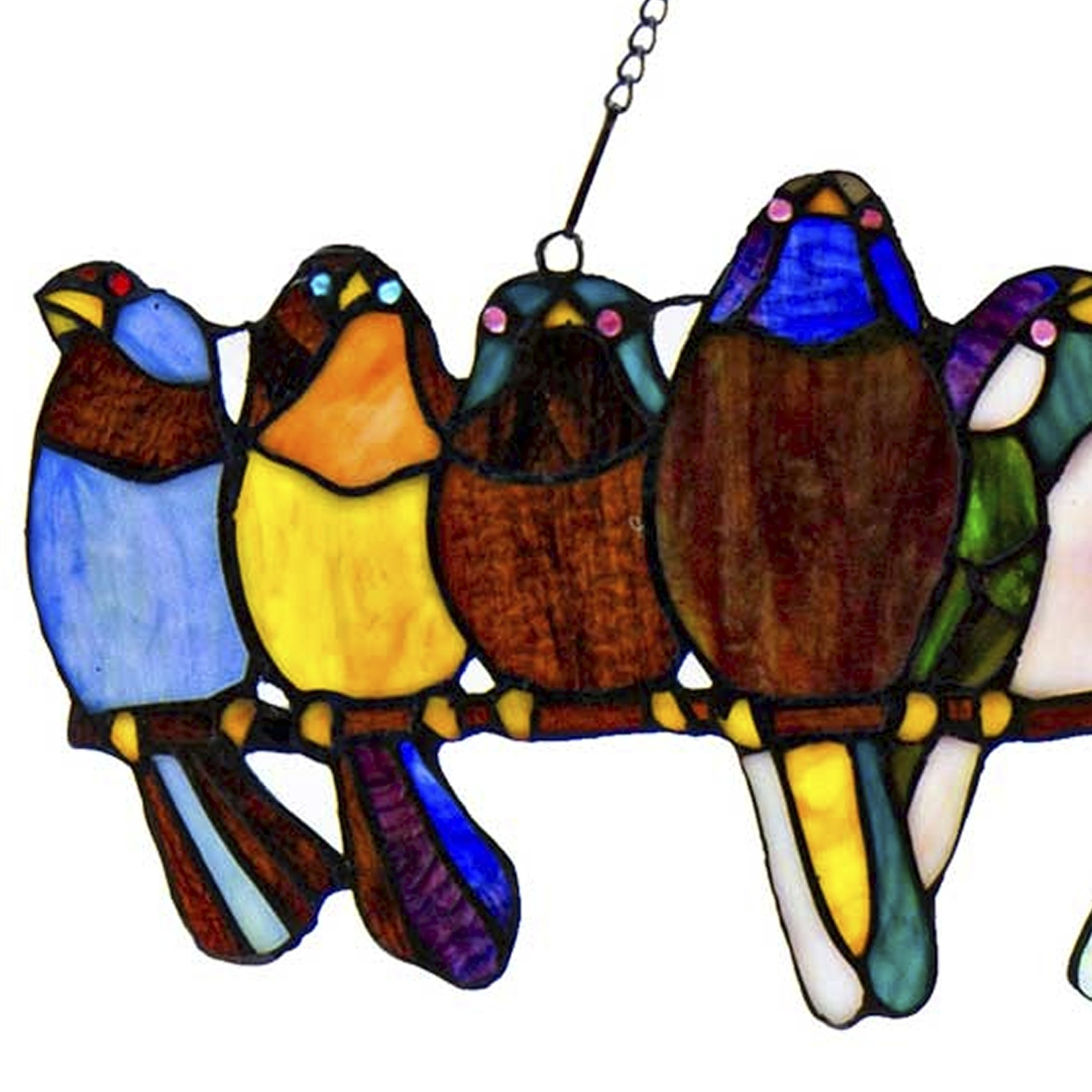 River Of Goods Birds On A Wire 925 Inch Stained Glass Window Panel 2425l X 025w X 95h
