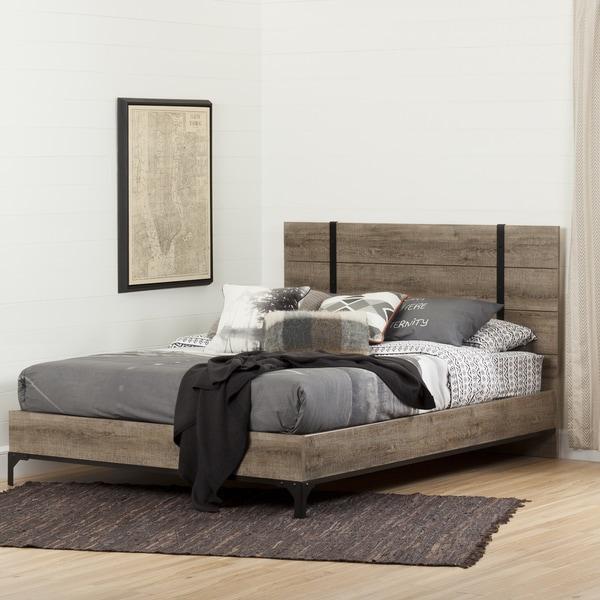 South shore valet brown wood 60 inch queen platform bed for Oak bedroom furniture 0 finance