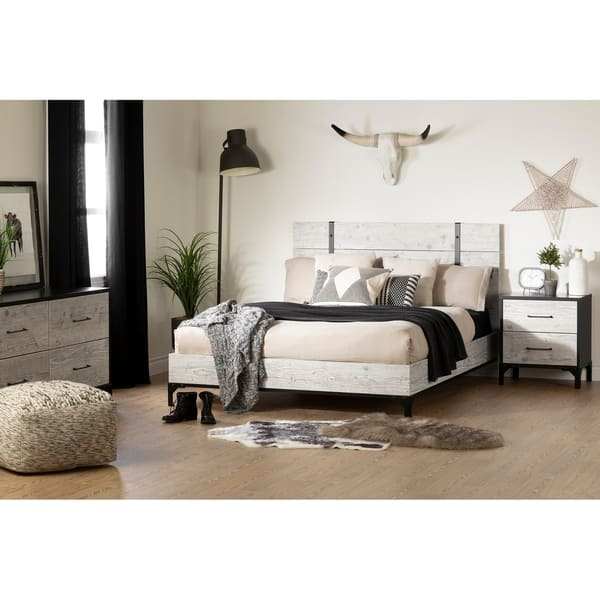 South Shore Valet Queen Platform Bed With Headboard Overstock 13329139 Seaside Pine And Ebony