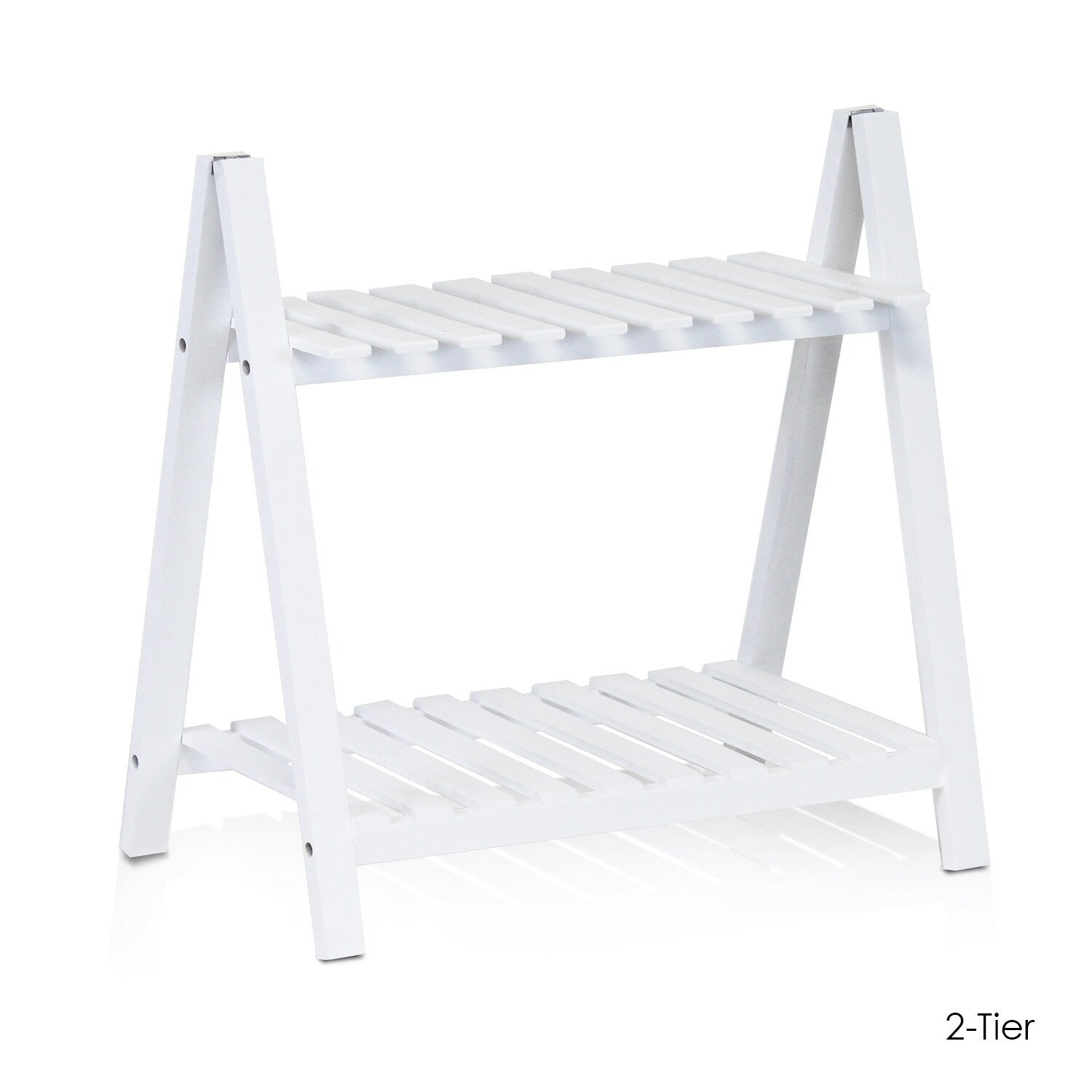 Furinno Yaotai White Solid Pine Wood Outdoor Plant Shelve...
