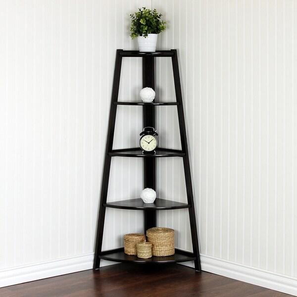 Delicieux Furinno Yaotai Brown Wood 5 Layer Corner Ladder Garden Shelf