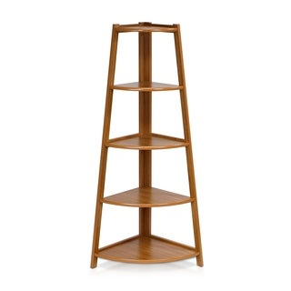 Furinno Yaotai Brown Wood 5-layer Corner Ladder Garden Shelf