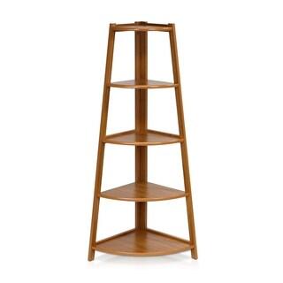 Furinno Yaotai Brown Wood 5-layer Corner Ladder Garden Shelf
