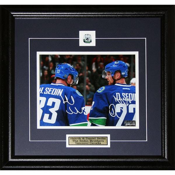 Herink Sedin & Daniel Sedin Vancouver Canucks Signed Photo in 8x10 Frame