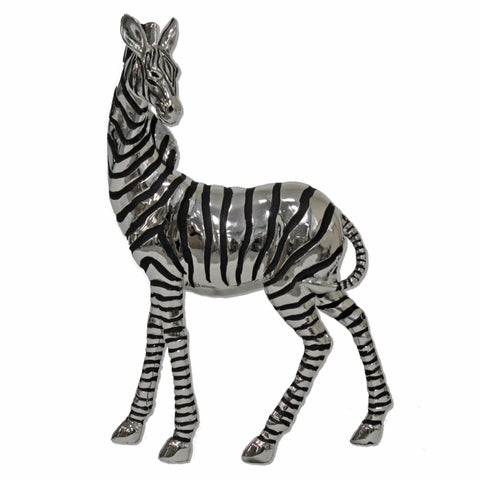 Urban Designs Silvertone Polyresin Grazing Zebra Table Sculpture Decor