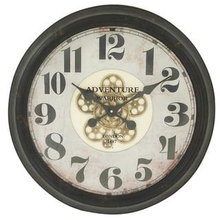 Adventure Warrior London 24-Inch Industrial Gear Round Wall Clock