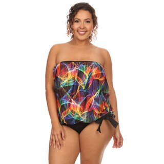 Dippin' Daisy's Women's Black Neonlights Plus-size Bandeau Blouson Tankini Bikini (4 options available)
