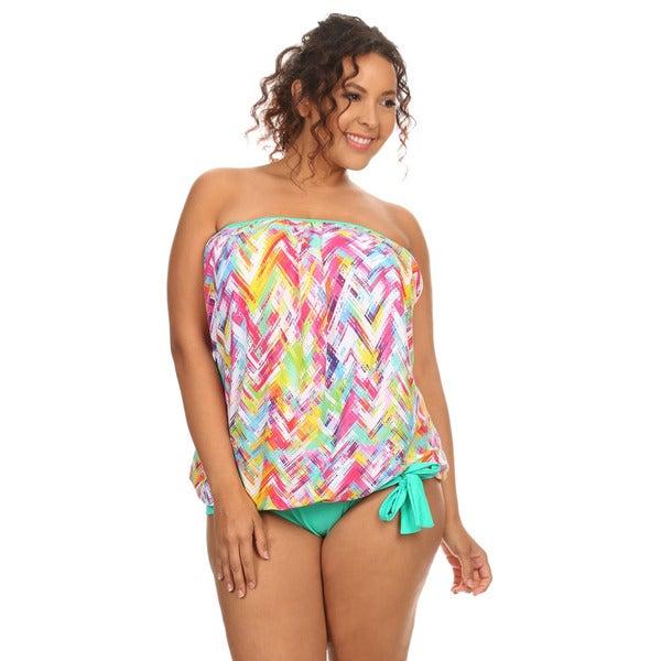 1e63c851f3 Shop Mint Plaid Women's Plus-size Bandeau Blouson Tankini Bikini - Free  Shipping On Orders Over $45 - Overstock - 13329496