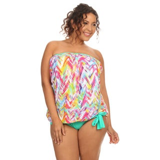 Mint Plaid Women's Plus-size Bandeau Blouson Tankini Bikini