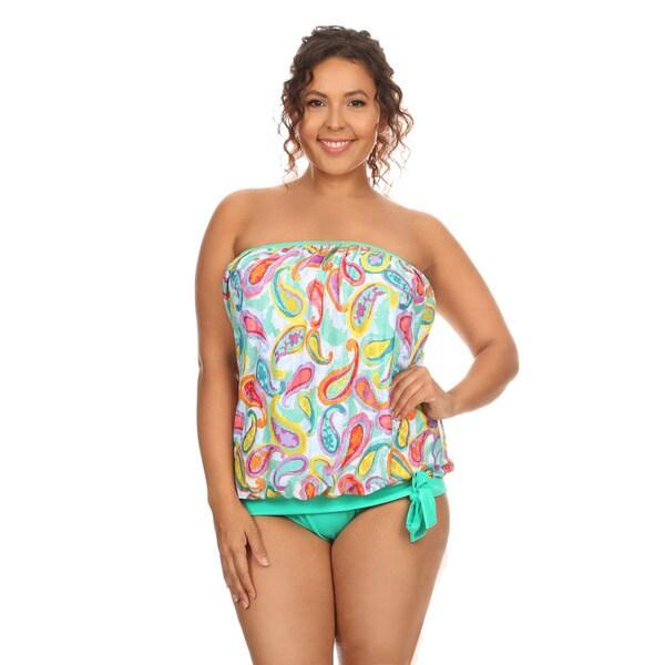 Dippin' Daisy's Women's Green Paisley Plus Size Bandeau Blouson Tankini Set