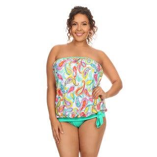Women's Green Paisley Plus Size Bandeau Blouson Tankini Set
