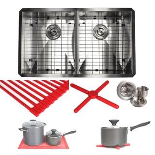 Ariel 32-inch Stainless Steel Zero Radius Undermount Single Basin Kitchen Sink with Accessories