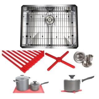 Ariel 26-inch Stainless Steel Zero Radius Undermount Single Basin Kitchen Sink with Accessories - STAINLESS STEEL