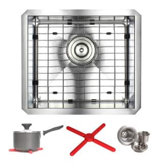 Ariel 17-inch Stainless Steel Zero Radius Undermount Single Basin Kitchen Sink with Accessories https://ak1.ostkcdn.com/images/products/13329543/P20033659.jpg?impolicy=medium