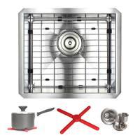Ariel 17-inch Stainless Steel Zero Radius Undermount Single Basin Kitchen Sink with Accessories