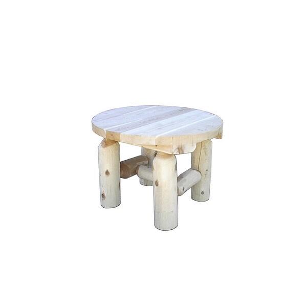 Shop Indoor White Cedar Log Rustic Round End Table