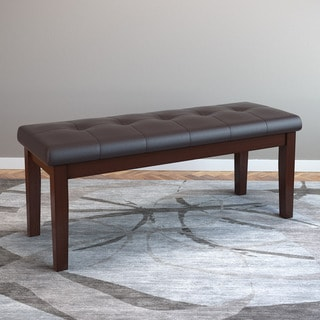CorLiving Chocolate-brown Bonded Leather Dining Bench