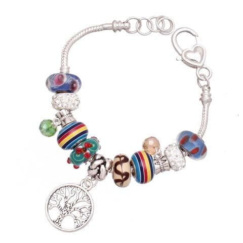 Handmade 'Tree of Life' Silver Charm Bracelet