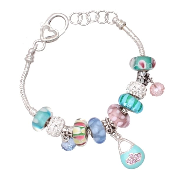 "Handmade ""Pretty Pastel"" Silver Interchangeable Big Hole Charm Bracelet. Opens flyout."