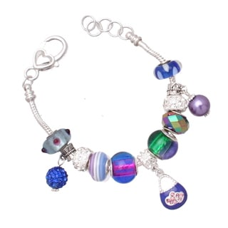 'Blue Betty' Silver Pandora-Style Charm Bracelet