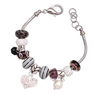 'Lavender Lush' Silver Pandora-Style Charm Bracelet