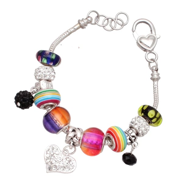 """Punky Pop"" Silver Interchangable Big Hole Charm Bracelet"