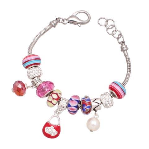Handmade Candy Carnival Silver Interchangeable Charm Bracelet