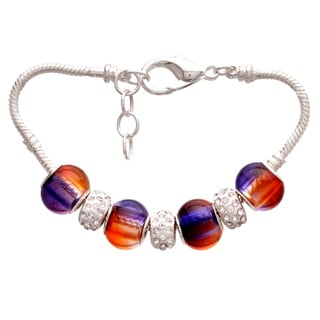 Purple and Orange Gradient Pandora-Style Charm and Rhinestone Bracelet
