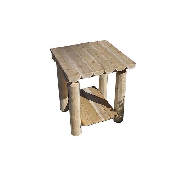 Shop White Cedar Log Rustic Two Tier End Table