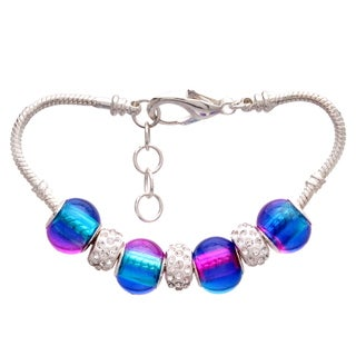 Blue and Pink Gradient Pandora-Style Charm and Rhinestone Bracelet