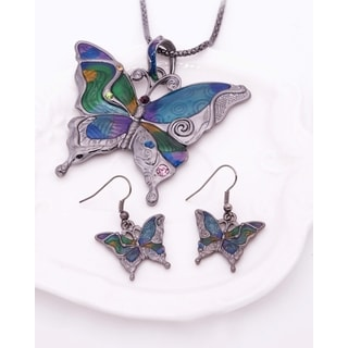 Mosaic Butterfly Choker, Necklace, and Earrings (3-Piece Set)