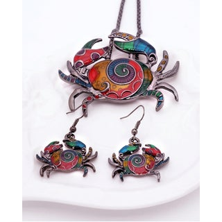'By the Sea' Rainbow Mosaic Crab Chain Necklace and Earring Jewelry Set