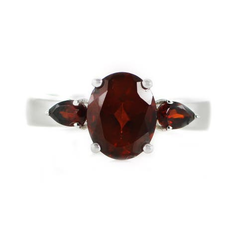 One-of-a-kind Michael Valitutti Palladium Silver Garnet Three Stone Ring