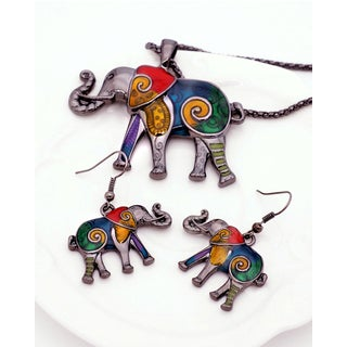 Handmade Rainbow Mosaic Elephant Choker/Necklace, and Earrings (2-Piece Set) (United States)