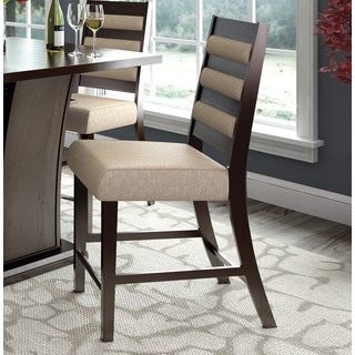 CorLiving Bistro Counter Height Wood Woven Fabric Dining Chair (Set of 2)