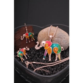 Handmade Rainbow Mosaic Elephant Necklace and Earrings (2-Piece Set) (United States)