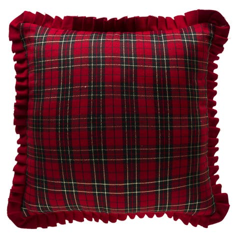 Red Black Gold Thread Plaid Holiday Throw Pillow