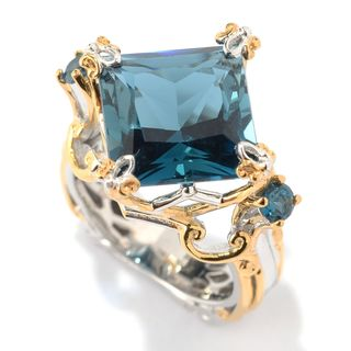 One-of-a-kind Michael Valitutti Palladium Silver London Blue Topaz Ring