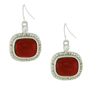 One-of-a-kind Michael Valitutti Silver Red Coral and cubic Zirconia Earrings