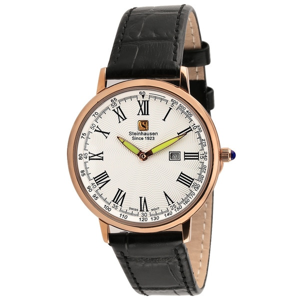 "Steinhausen Classic Men's S0119 ""Altdorf"" Swiss Quartz Rose Gold Black Leather Band Watch"