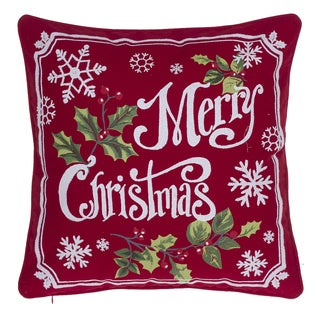 Very Merry Christmas Cotton Giltter Printed Throw Pillow